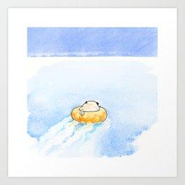 Pug on the Water Art Print