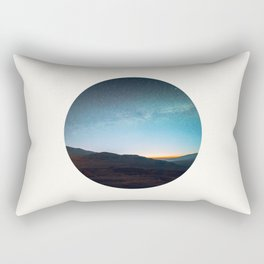 Mid Century Modern Round Circle Photo Graphic Design Mikey Way During Sunset Mountain Silhouette Rectangular Pillow