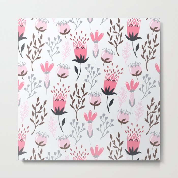 Mod Floral Pink + Gray Metal Print