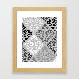 Scroll Damask Ptn Art BW & Grays Framed Art Print