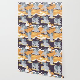 Baby African elephants joy night and day // yellow mustard Wallpaper