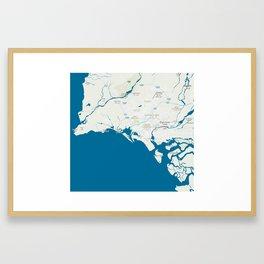 Minimalist Modern Map of Karachi, Pakistan Framed Art Print