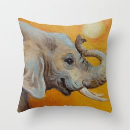Good Luck Elephant Safari style landscape & elephant Animal portrait Yellow background Painting Throw Pillow