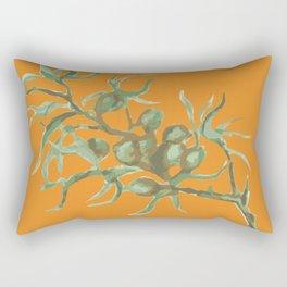 Green on Orange Rectangular Pillow
