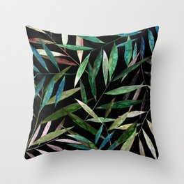 Color Bamboo Leaves at Night Throw Pillow