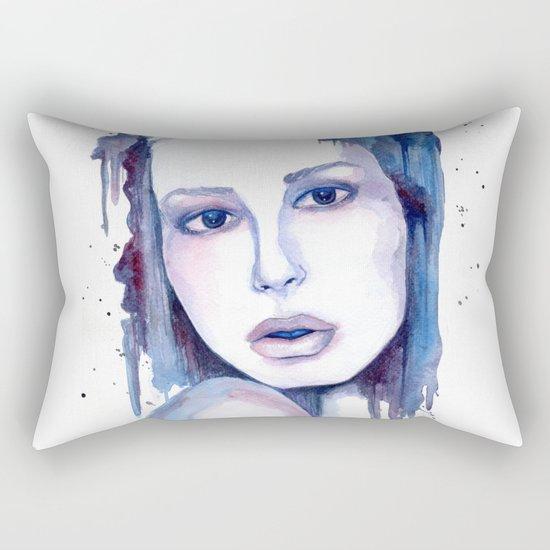 Watercolor - Woman in blue Rectangular Pillow