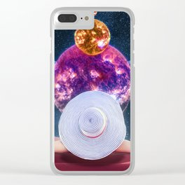 Sunbathing Amongst The Moon And Stars Clear iPhone Case