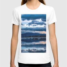 Sailboat Dusk // Moody Calm Blue Waters on the Lake Before the Night T-shirt