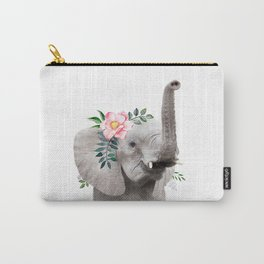 Baby Elephant with Flower Crown Carry-All Pouch