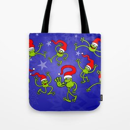 Christmas Frogs jumping, dancing and celebrating! Tote Bag