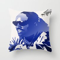 stevie nicks Throw Pillows featuring STEVIE WONDER by KEVIN CURTIS BARR'S ART OF FAMOUS FACES
