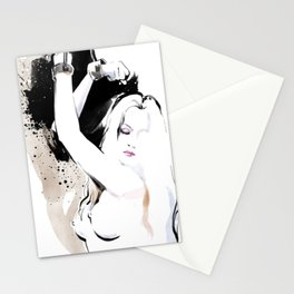 Beauty portrait, Woman slave handcuffs, Nude art, Black and white, Fashion painting Stationery Cards