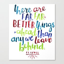 cs lewis quote (lime, red, teal, indigo) Canvas Print