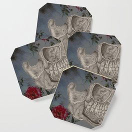 Skeleton and Roses Coaster