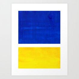 Colorful Bright Minimalist Rothko Blue Yellow Midcentury Modern Art Vintage Pop Art Art Print