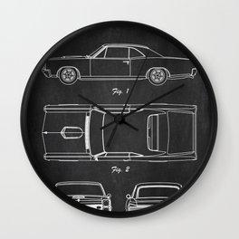 Pontiac GTO patent print. Pontiac GTO chalkboard poster Wall Clock