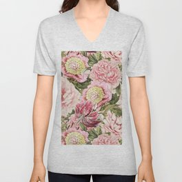 Vintage & Shabby Chic Floral Peony & Lily Flowers Watercolor Pattern Unisex V-Neck