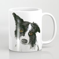 border collie Mugs featuring Border Collie by Naomi Bardoff