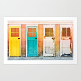 Colorful wooden doors with a vintage flare filter applied to the image Art Print