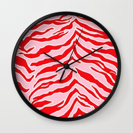 Tiger Print - Red and Pink Wall Clock