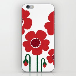 Red poppy designers flowers iPhone Skin