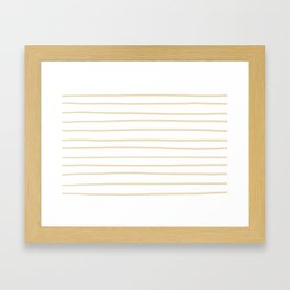 Valspar America Wood Yellow - Homey Cream - Glow Home Hand Drawn Horizontal Stripes on White Framed Art Print
