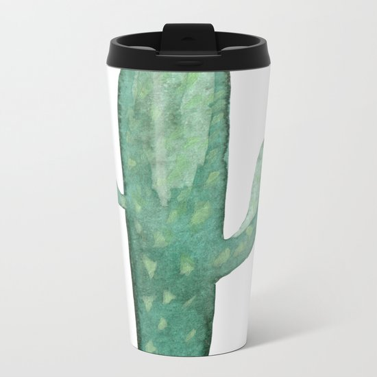 Arizona Mint Cactus on White Metal Travel Mug