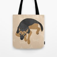 german Tote Bags featuring German Shepherd by Sarah