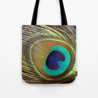 peacock feather Tote Bags featuring Peacock Feather by Kim Bajorek