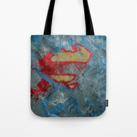 superman Tote Bags featuring Superman by Fernando Vieira