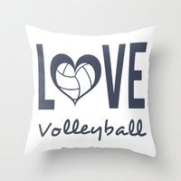 volleyball Throw Pillows featuring Love Heart Volleyball (blue) by raineon