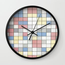 Composition with Grid IX by Piet Mondrian 1919 // Red Blue Yellow Gray Cube Abstract Square Pattern Wall Clock