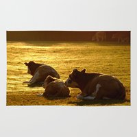 cows Area & Throw Rugs featuring Sitting Cows by Serenity Photography