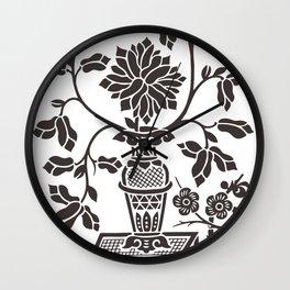 Oriental Decorative Black Vase with Cut Ornamental Flowers Wall Clock