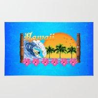 hawaiian Area & Throw Rugs featuring Hawaiian Surfing by MacDonald Creative Studios