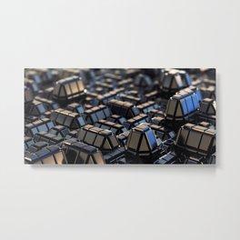 Abstract Geometric Metal Macro City 3D Blue Steel with Depth of Field Metal Print