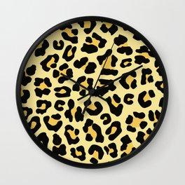 Lemon Chiffon Cheetah Leopard Print Wall Clock