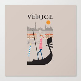 Venice - In the City  - Retro Travel Poster Design Canvas Print