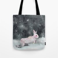 rabbit Tote Bags featuring White Rabbit by Ben Geiger