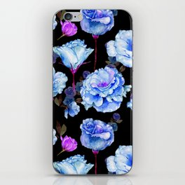 Blue pink purple watercolor roses pattern iPhone Skin
