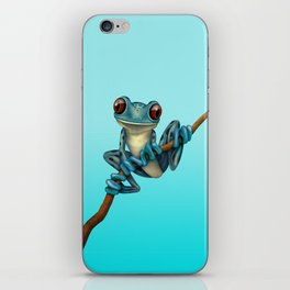 Cute Blue Tree Frog on a Branch iPhone Skin