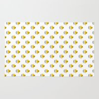 emoji Area & Throw Rugs featuring Hatching baby chick Emoji by JuyoDesign