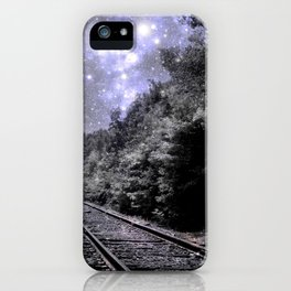 Train Tracks Next Stop Anywhere Periwinkle Gray iPhone Case