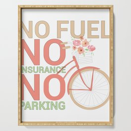 Bicycle Rider Environmentally Friendly Bike No Fuel No Insurance No Parking Serving Tray