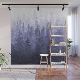 My Misty Secret Forest - deep purple Wall Mural