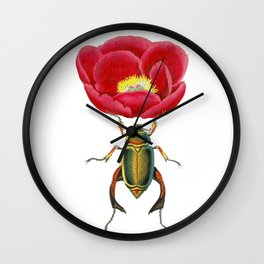 Red Peony and beautiful Beatle Wall Clock