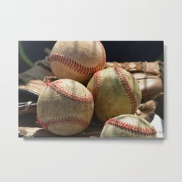 Baseballs and Glove Metal Print