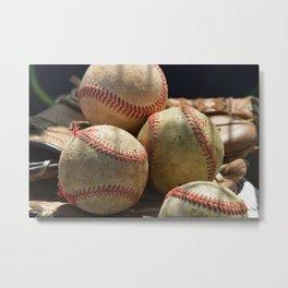 Baseballs and Glove Metal Print
