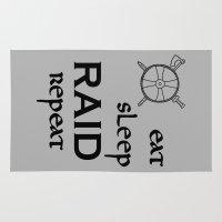 vikings Area & Throw Rugs featuring eat-sleep-RAID-repeat black, Vikings by ZsaMo Design