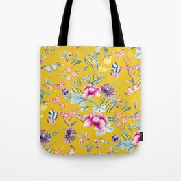 Yellow Chinoiserie Asian Floral Print Tote Bag